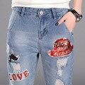 Реальный выстрел новый отверстие джинсы женские блестки в школу привязан к Buharon брюки ноги брюки YF26