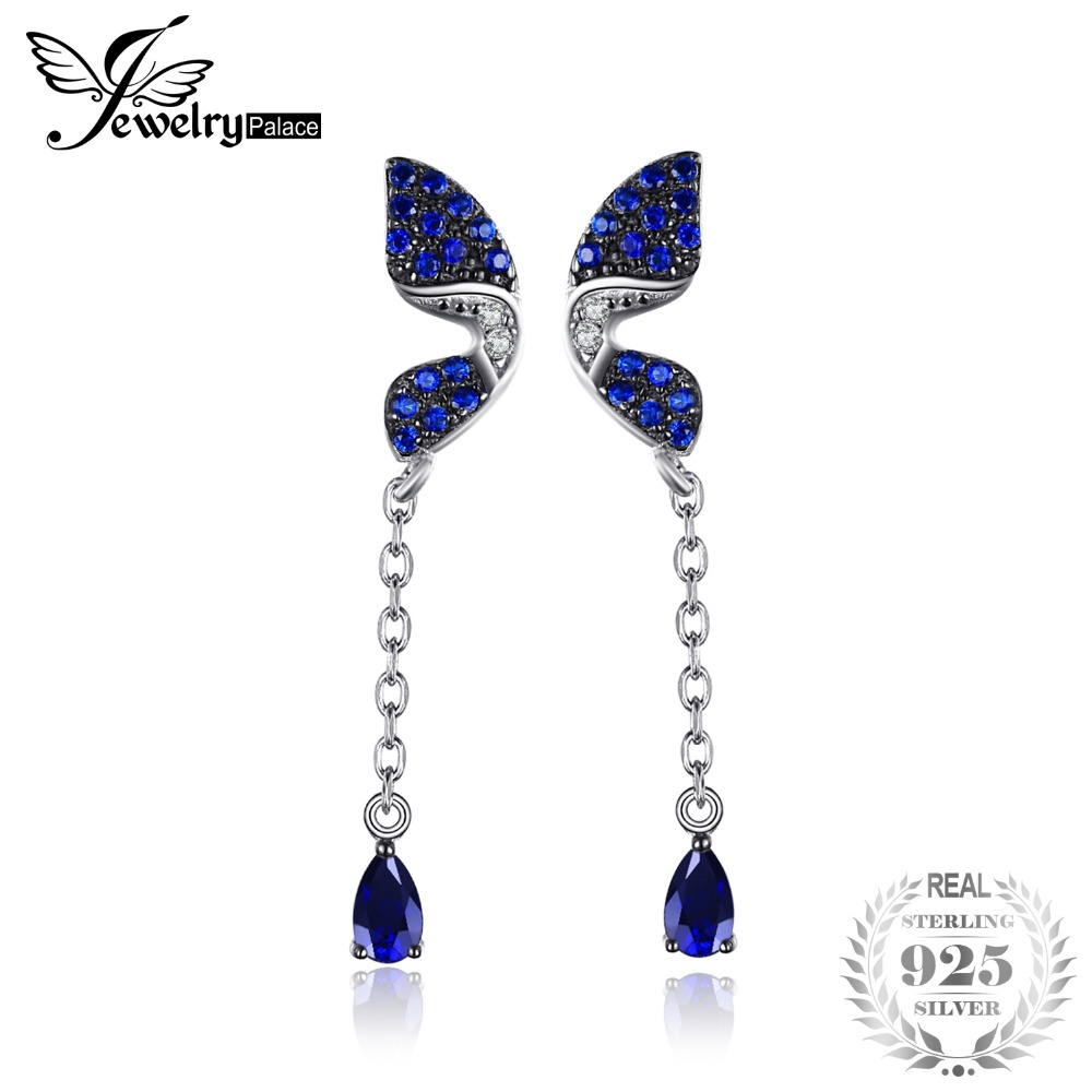 JewelryPalace Butterfly 0.6ct Pear Created Sapphire Created Blue Spinel Drop Earrings 925 Sterling Silver Fine Jewelry For Woman jewelrypalace new 1 3ct pear created alexandrite sapphire water drop earrings 925 sterling silver fashion fine jewelry for women