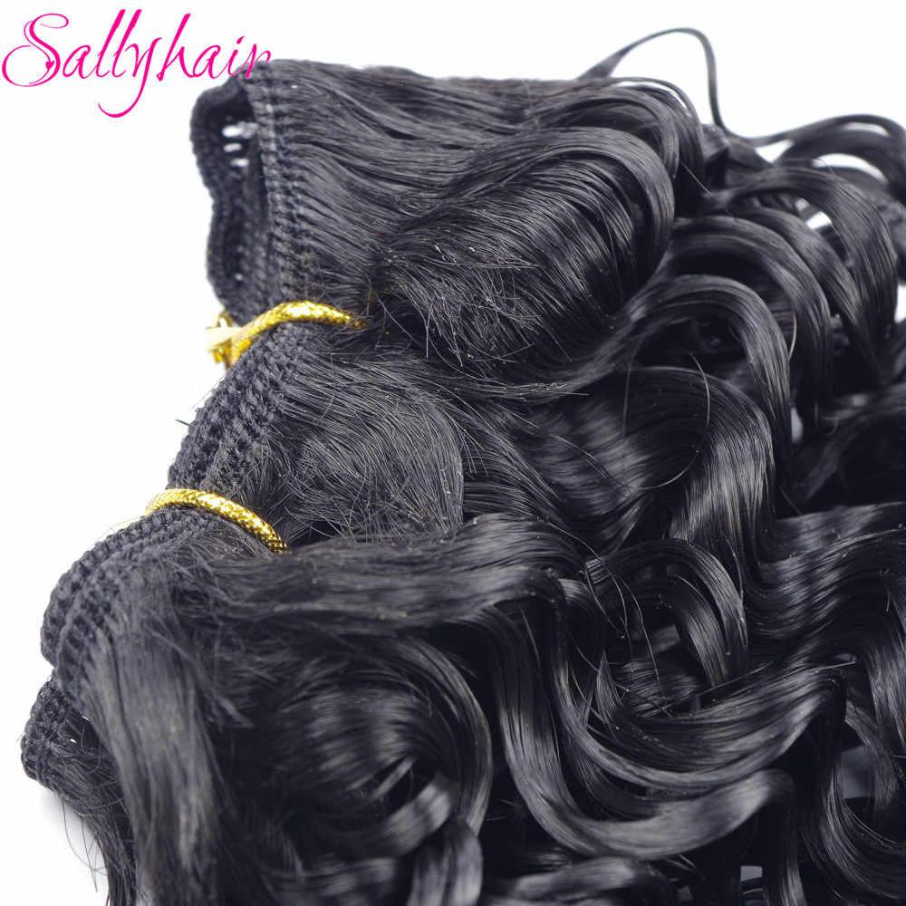 Sallyhair афро Вьющееся кружево волос переплетение высокотемпературные синтетические уток накладные волосы Омбре цвет 3 шт./лот волосы Weavings