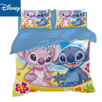 Cartoo lilo and stitch bedding set 3 pcs single full size cartoon girls bed queen size cover pillow cases room decor hot