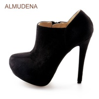 ALMUDENA Women Fall Ultra High Heel Ankle Boots Black Suede Concise Zipped Dress Shoes Platform Party