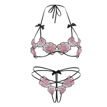 Women Embroidery Flowers Lace Sex Underwear Night Passion Set Sexy Lingerie Ultra Thin Halter Open Bra Crotchless Panties Set
