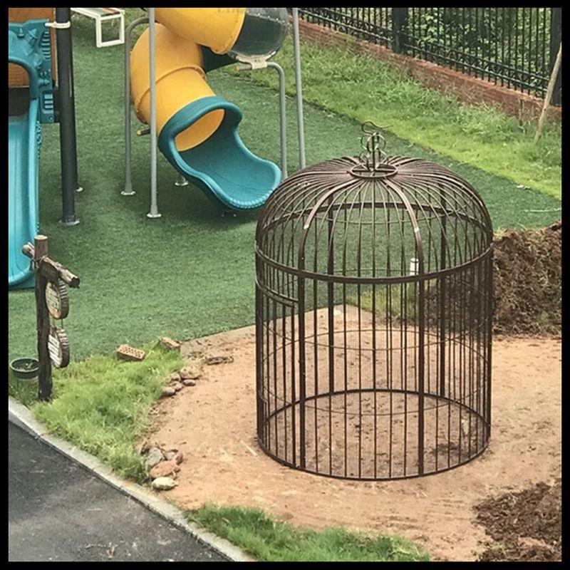 Cage à oiseaux en fer forgé paon perroquet starling muguet cage à oiseaux décorée en plein air grande cage à oiseaux (Plus le filet n'ajoute pas de fond) - 5