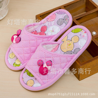 Disney children's cartoon cotton Mickey Minnie boy girl non-slip soft bottom warm cotton shoes home shoes(China)