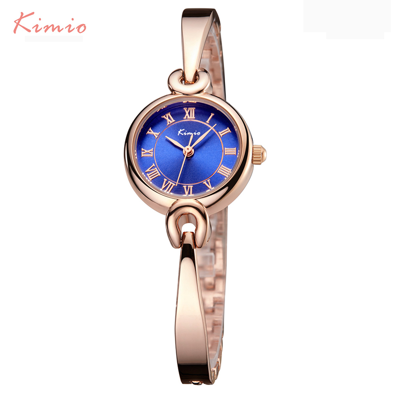 KIMIO Women Bracelet Watch Simple Blue Ladies Dress Watches 2017 Rose Gold Plated Fine Stainless Steel Strip Quartz Wristwatches stylish 8 led blue light digit stainless steel bracelet wrist watch black 1 cr2016