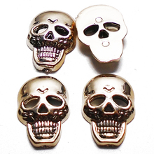 Free Shipping 100PCs Plating Gold Skull Plastic Buttons Sewing Scrapbooking Crafts Handmade 18x13mm Clothes Decorated Button