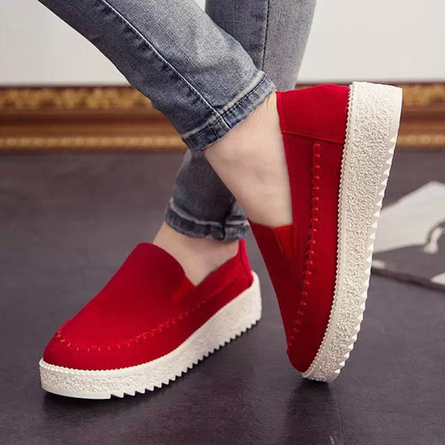 Women Round Toe Leather Flats Ladies Fashion Loafers Shoes Summer Style Female Platform Thick Soles Shoes Plus Size US 8