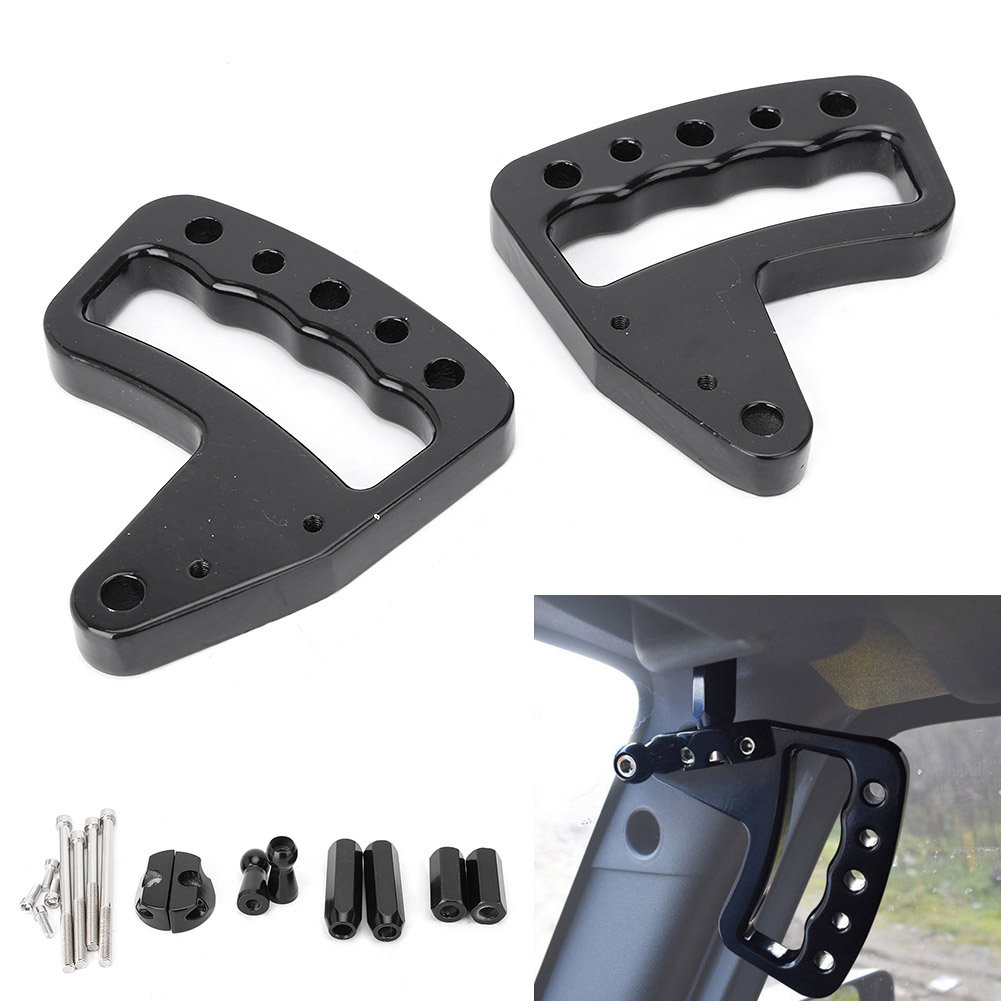 For Jeep Wrangler JK Upgraded Front Grab Bar Handles 2007-2017 Black Automoble Car Auto Parts Accessories 2pcs new car red solid steel front grab handles with power coated surface resist rust for jeep wrangler 2 4 door 2007 2015