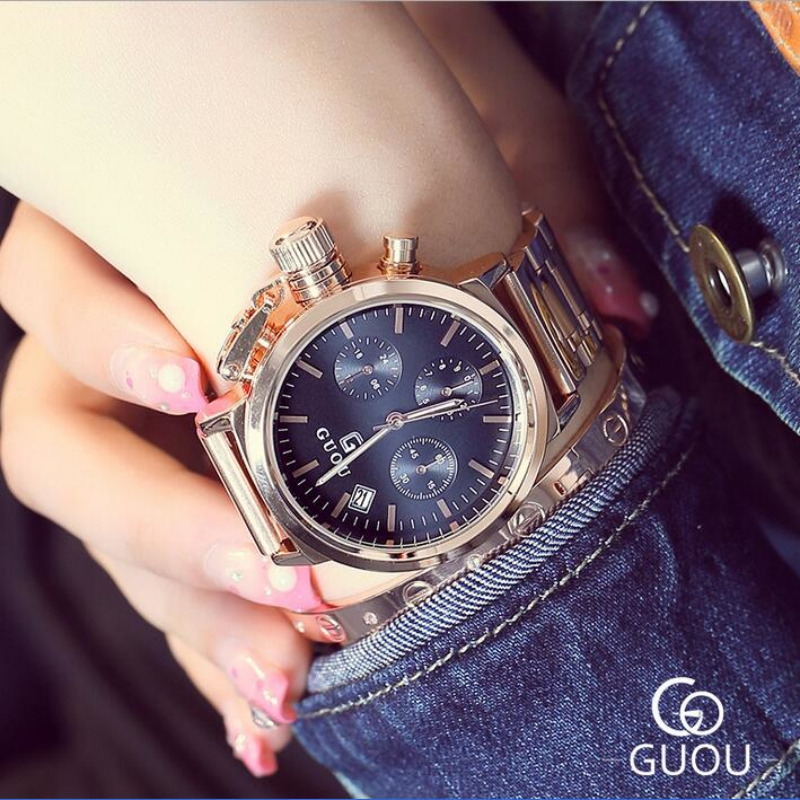 GUOU Top Luxury Wrist watch Fashion Rose Gold Watch Women Watches Full Steel Auto Date Clock saat bayan kol saati montre femme