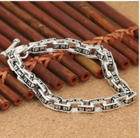 man bracelet 925 sterling silver bracelet men's bracelets for men 7mm