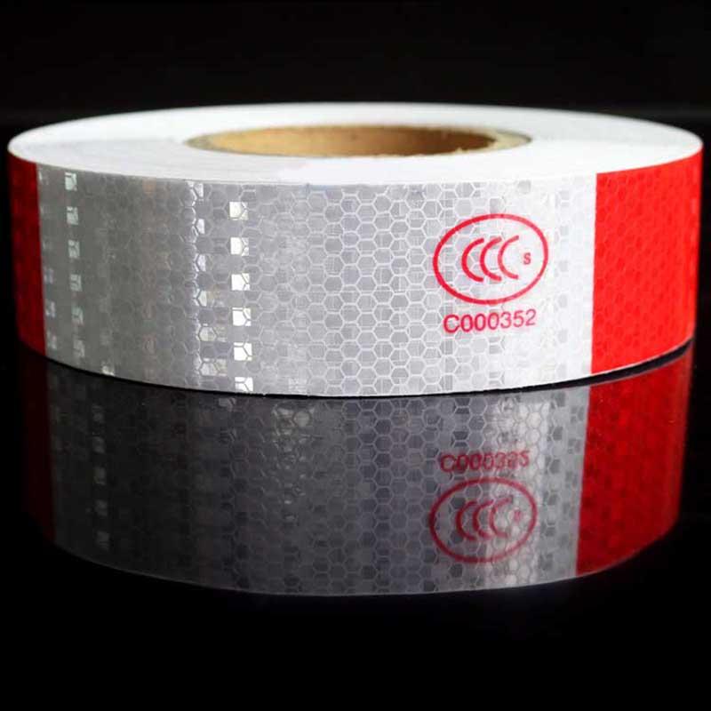 5cm*3m Dark Red & White Silver Alternate with Lattice Reflective Tape Sticker Car Vehicle Truck Roadway Warning Strip DIY Decal