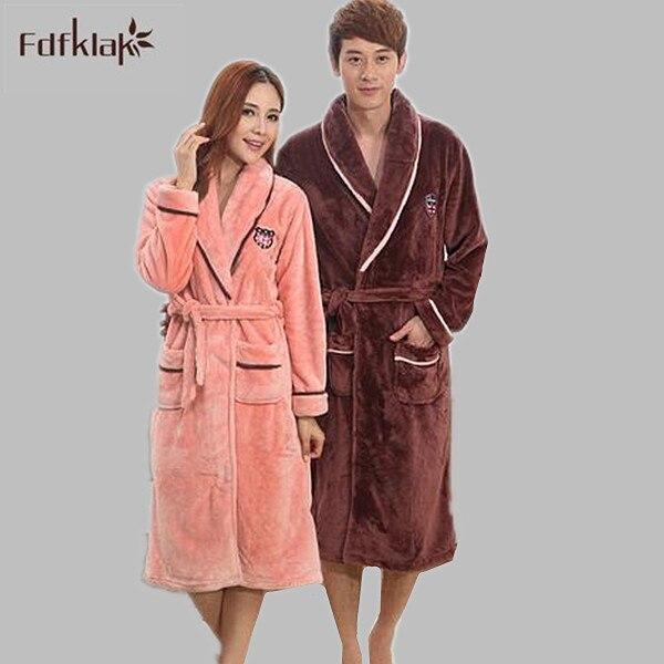 Autumn Winter Women's Thickening Kimono Robe Flannel Pyjamas Women Couples Bathrobe Coral Fleece Warm Sleepwear Bath Robes A216