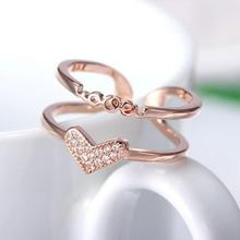 imixlot Golden Ring Female Korean Fashion Silver Ring Feminin Double-layer Zircon Love Ring Open Adjustable Tail Ring 2019 кольцо fashion ring 3colors double fingers ring