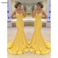 Yellow Long Evening Dresses Mermaid Prom Dress Sleeveless Ruffles Sweep Train Simple Evening Dress Custom Made