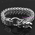 Heavy Dragon Biker Bracelets Men's Jewelry 316l Stainless Steel Silver Tone Figaro Chain Charm Gift 8.66""