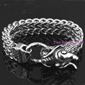 """Heavy Dragon Biker Bracelets Men's Jewelry 316l Stainless Steel Silver Tone Figaro Chain Charm Gift 8.66"""""""
