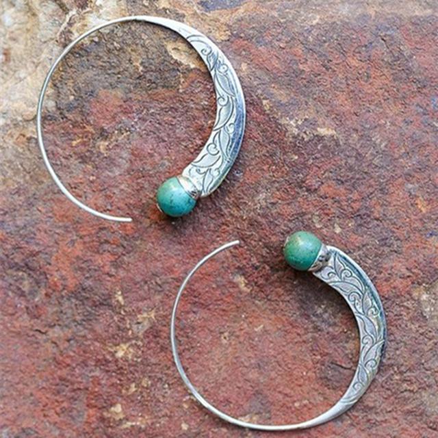 Vintage Tibetan Silver Hoop Earring with Green Stone
