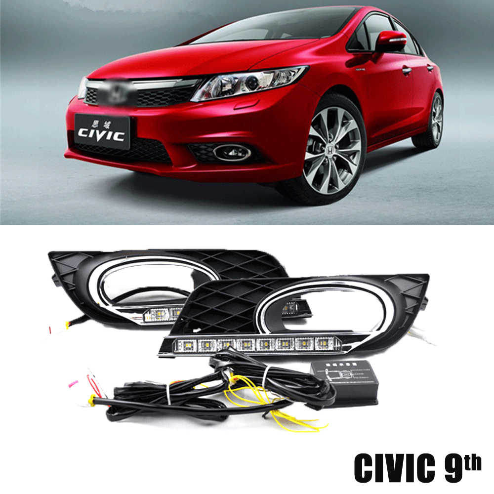 ECAHAYAKU Car LED Daytime Running Lights DRL Turning Signal style Relay 12V with Fog Lamp Covers For Honda Civic 9th 2012 2013