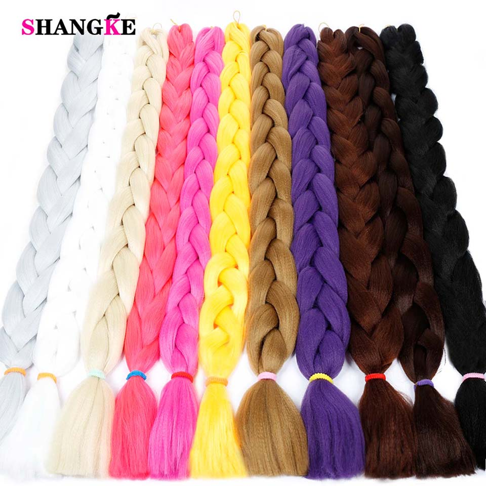2019 Latest Design 82 165g/pack Synthetic Kanekalon Braiding Hair Extensions Jumbo Braids Hairstyle Blue Pink Green Shangke Hair Braids