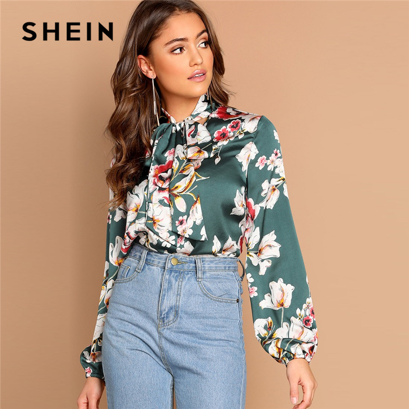 1516a87996 SHEIN Green Tie Neck Floral Stand Collar Long Sleeve Blouse Modern Lady  2019 Spring Women Streetwear