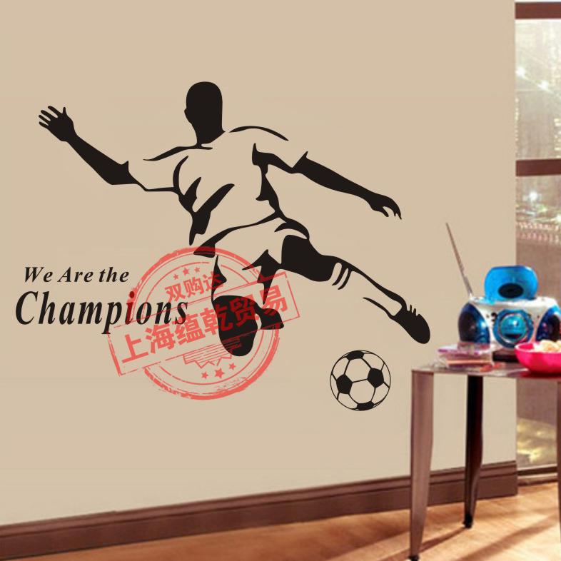 Sport Football Vinyl Wall Sticker Brazil Soccer Player Mural Art Wall Decal Boys Bedroom Living Room Decorative Home Decoration