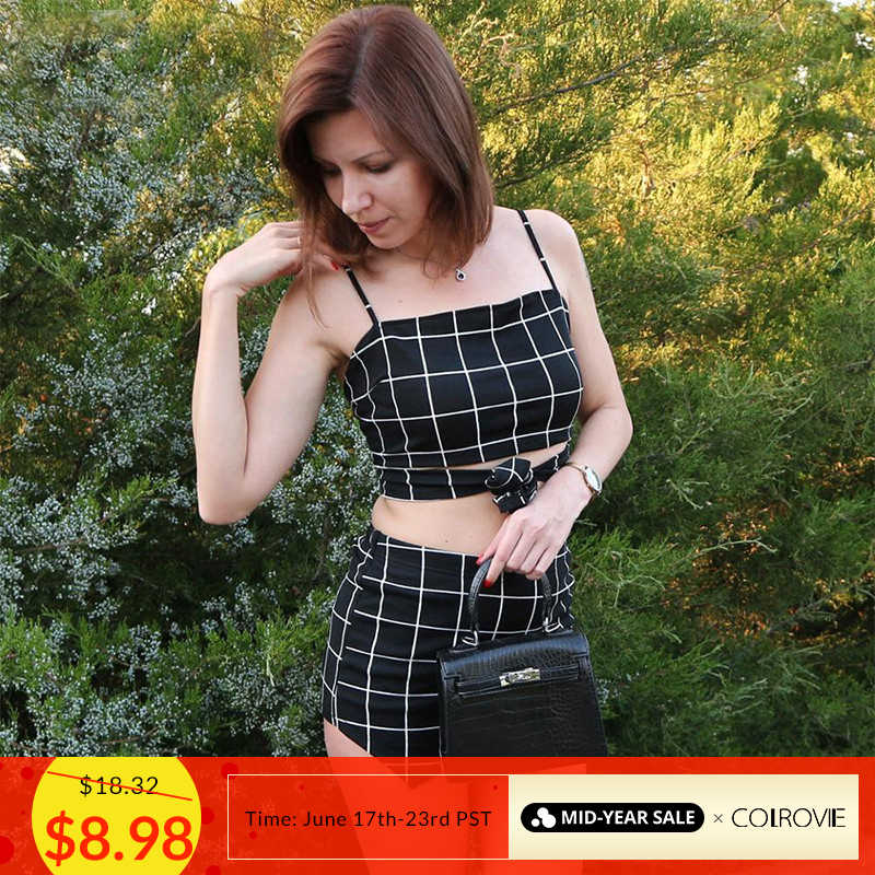 COLROVIE Grid Crop Back Tie Cami Top And Shorts Set Plaid Summer Spaghetti Strap Clothes Set Stretchy Sexy Two Piece Set