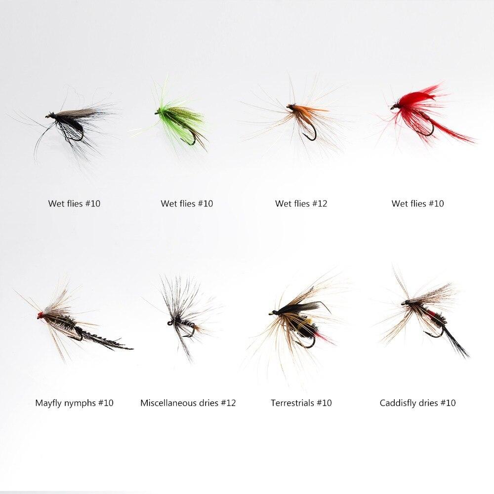 pacote de 64 pcs atracao da mosca incluindo dry moscas molhadas 03