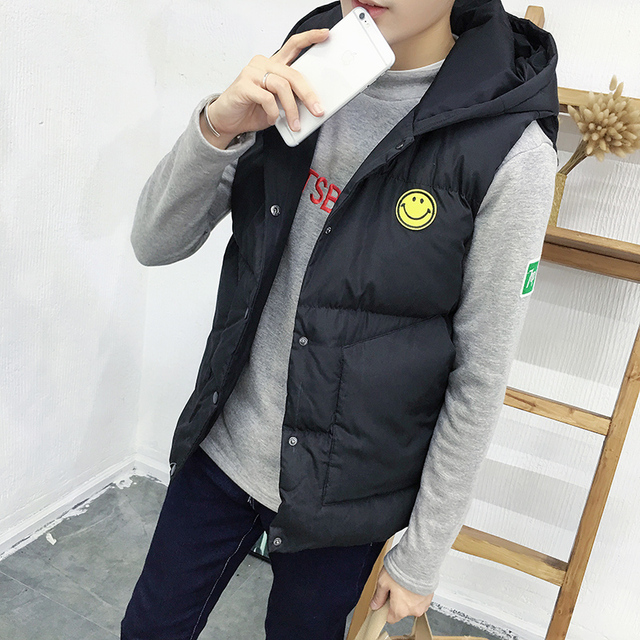 New Mens Jacket Sleeveless vest homme Winter Fashion Casual Coats Male Hooded Cotton-Padded Men's Vest men Thickening Waistcoat