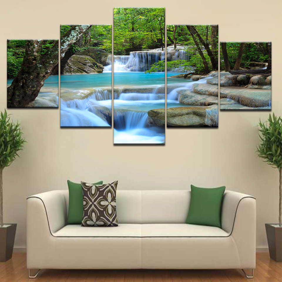 Large Canvas Wall Art Waterfall Painting Feng Shui Decorating 5 Panel HD Print For Home Living Room Decoration