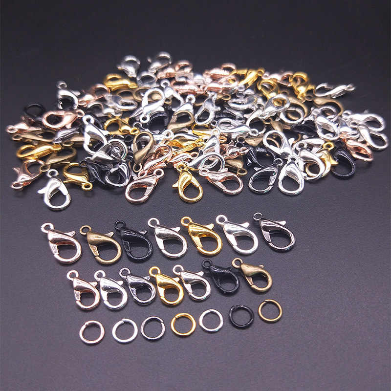 30Pcs Lobster Clasp Hook/100Pcs Open Circle Jump Rings Jewelry Findings DIY Making Necklace bracelet Buckle Jewelry Accessories