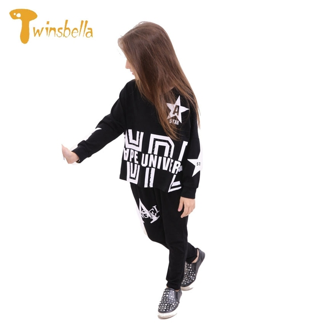 TWINSBELLA Spring Fashion Girls Sport Suits Star Letters Striped Kids Hip Hop Clothing Set Cotton Top+Pants 2Pcs Girl Clothes