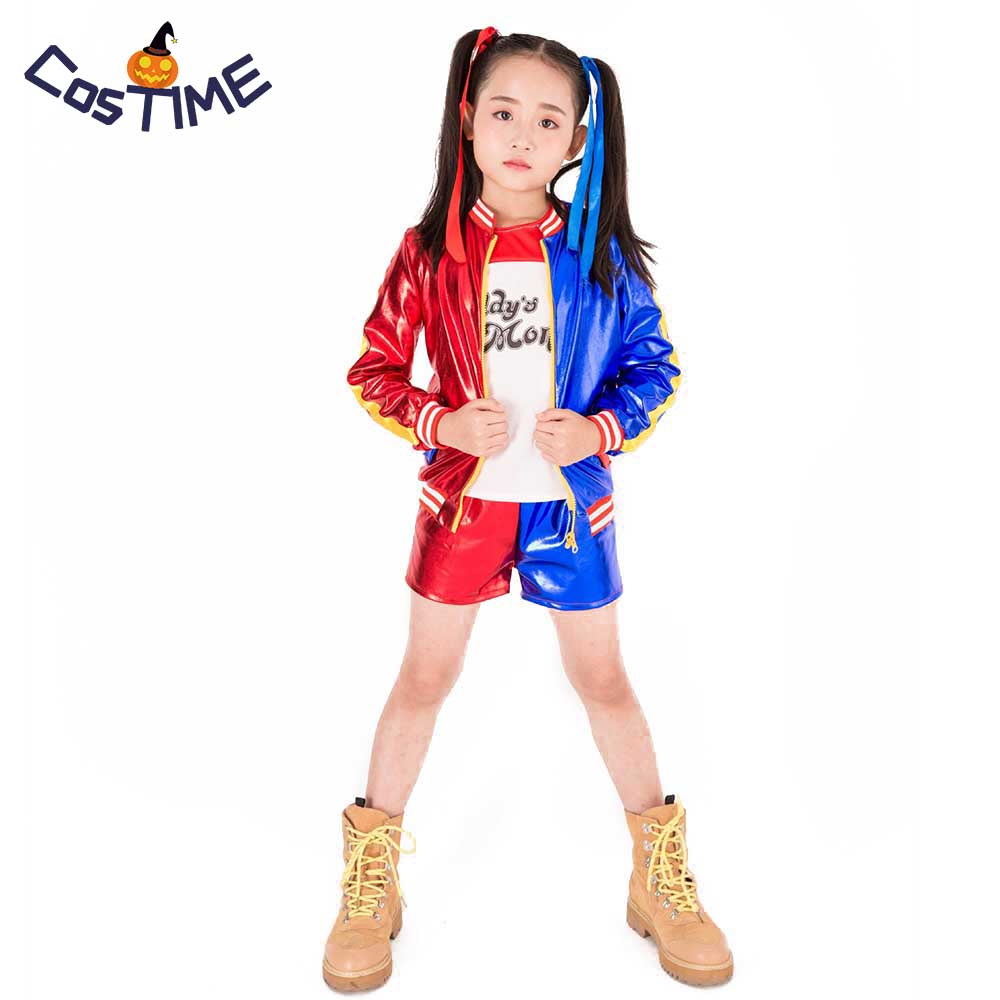 Kids Girls Harley Quinn Costume Set Suicide Squad Cosplay Outfit Jacket T-shirt Shorts Halloween Costumes for