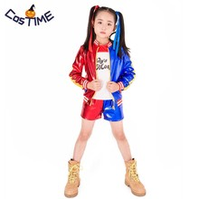 Kids Girls Harley Quinn Costume Set Suicide Squad Harley Quinn Cosplay Outfit Jacket T-shirt Shorts Halloween Costumes for Kids suicide squad harley quinn outfit cosplay halloween costumes
