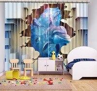 3D Curtain Blackout Three dimensional Dolphins Blue Curtains Decorative Door Curtain Blackout Curtain Fabric