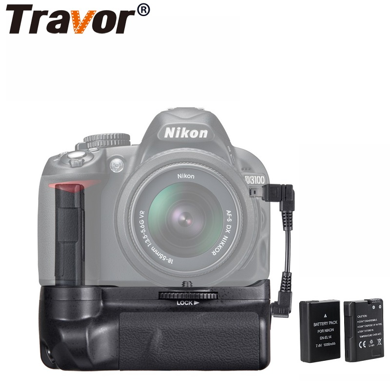 цена на Travor Vertical Camera Battery Grip Holder For Nikon DSLR D3100 D3200 D3300 Battery Handle +2PCS EN-EL14 Battery