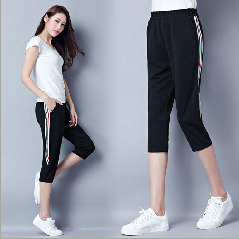 leggings women sportwear stretch calf-length pants 2019 Side fringe casual cropped pants black color casual fitness pants M-4XL