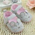 Meninas bonitos Do Bebê Primeiros caminhantes Algodão Cinza Rato Dos Desenhos Animados Suave com Padrão de Sombreamento Suave Sole Prewalkers Sapato Da Criança Do Bebê 3 tamanho