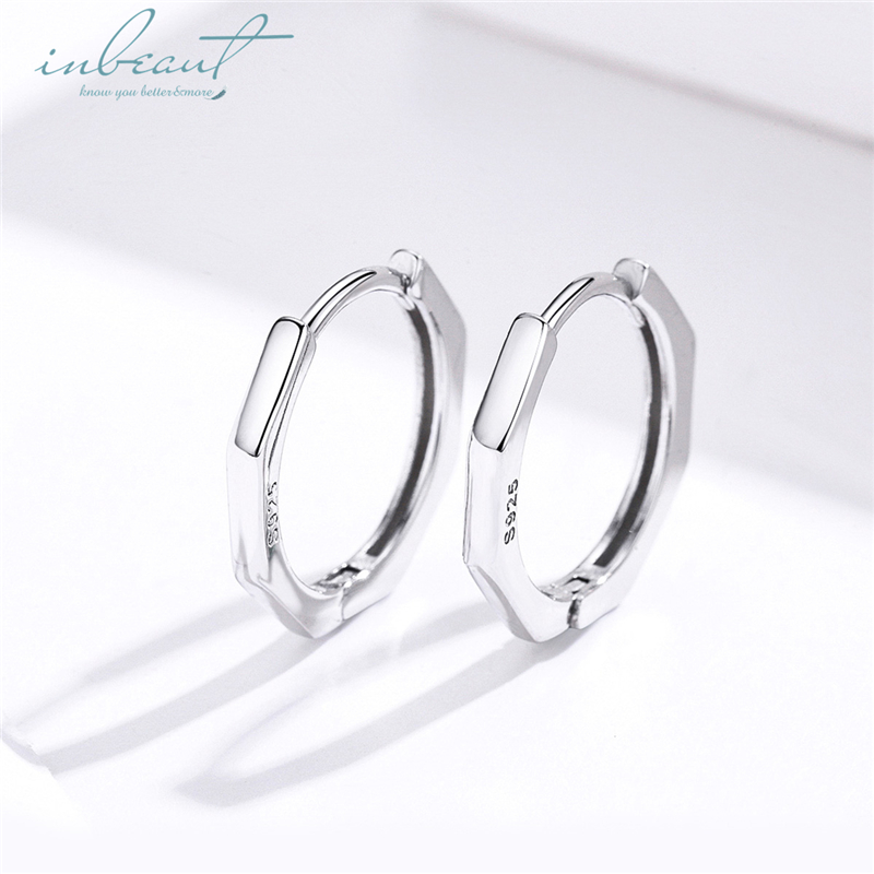 inbeaut Hot Sale 100% 925 Sterling Silver Womens Trendy European minimalism Round Hoop Earrings Original Korean Fashion Jewelry