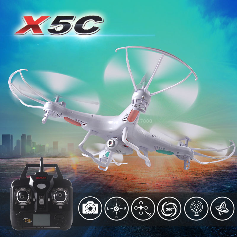 Syma X5C 2.4G 4CH 6 axes Original quadrirotor RC hélicoptère drone avec 2MP HD FPV caméra RC jouet-blanc