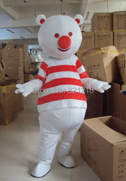 SpotSound bear mascot snowman with red and white striped t-shirt