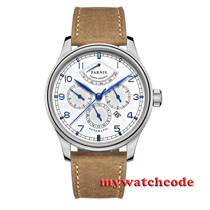 лучшая цена 42mm parnis white dial power reserve 26 jewels miyota Automatic mens Watch P537B