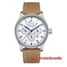 42 мм parnis белый циферблат Запас хода 26 jewels miyota Автоматическая Мужские часы P537B