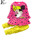 KEAIYOUHUO Girls Clothes 2017 Children Clothing Bosudhsou Fashion Cartoon Sports Suit Baby Girl SetsTracksuit Costume For Kids