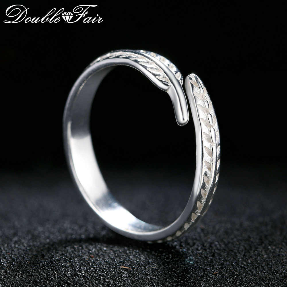 c908e810d19d Detalle Comentarios Preguntas sobre Doble del estilo del diseño de la pluma  100% 925 Sterling plata joyas anillos ajustables S925 cola de la joyería  para ...