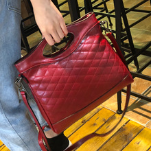 New Fashion Genuine Leather Handbag Women's Messenger bag Brand Oil Wax Leather Tote Plaid Female Shoulder Crossbody bags