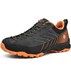 Image 2 - SALAMAN Mens Fur Leather Outdoor Hiking Camping Shoes Sneakers For Men Tourism Tracking Trekking Climbing Mountain Shoes Man