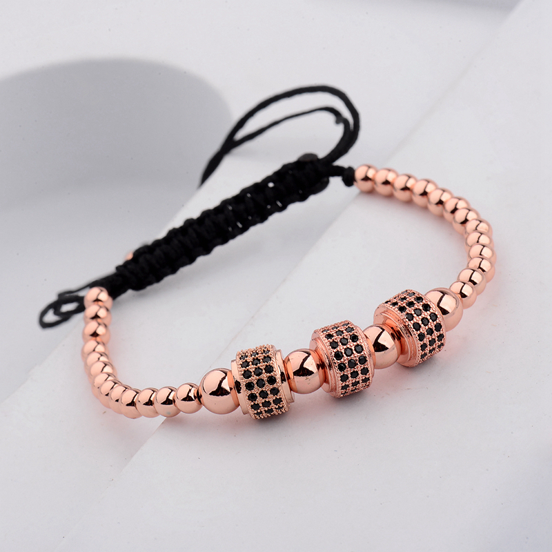 2017 New Rose Gold Diy Design Pave CZ Ball Charm Bracelet Men Women Braided Macrame Copper Beads Jewelry Gift For Men Women