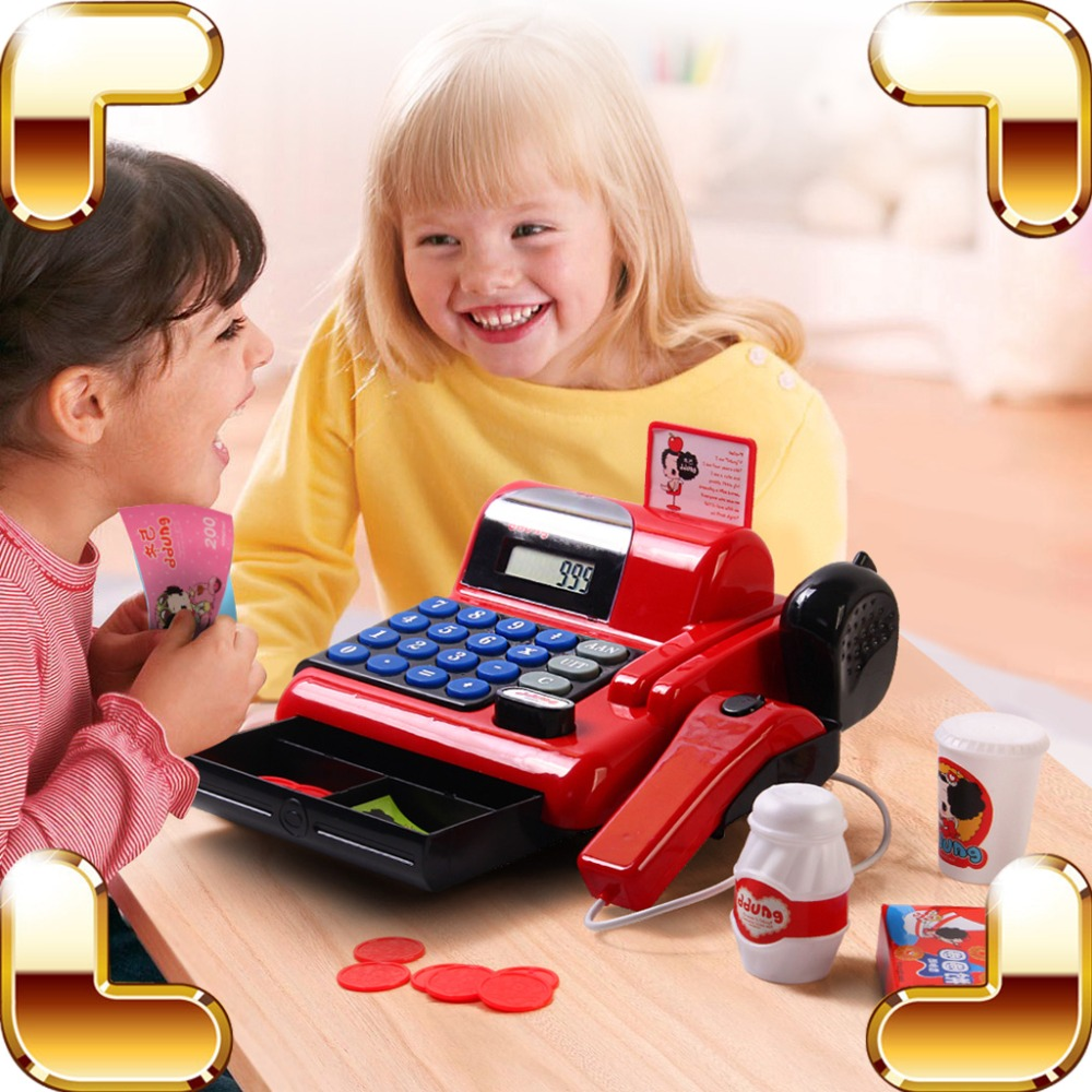 Christmas Gift Cash Register Baby Pretend Play Toys Supermarket Children POS Machine Game Kids Learning Education Model Present