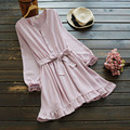 Spring Women Casual Ruffles Hem Sweet Sash Waist Bow Solid Color Cute O Neck Long Sleeved Brief Tie Female Dress Mori Girl U634