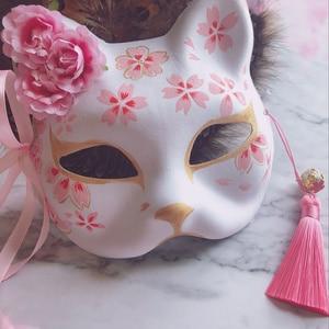 Image 1 - 9 хвостая маска лисы, ручная роспись, кошка, книга друзей Natsume, целлюлоза, Полулицо, Хэллоуин, косплей, животные, вечерние игрушки для женщин